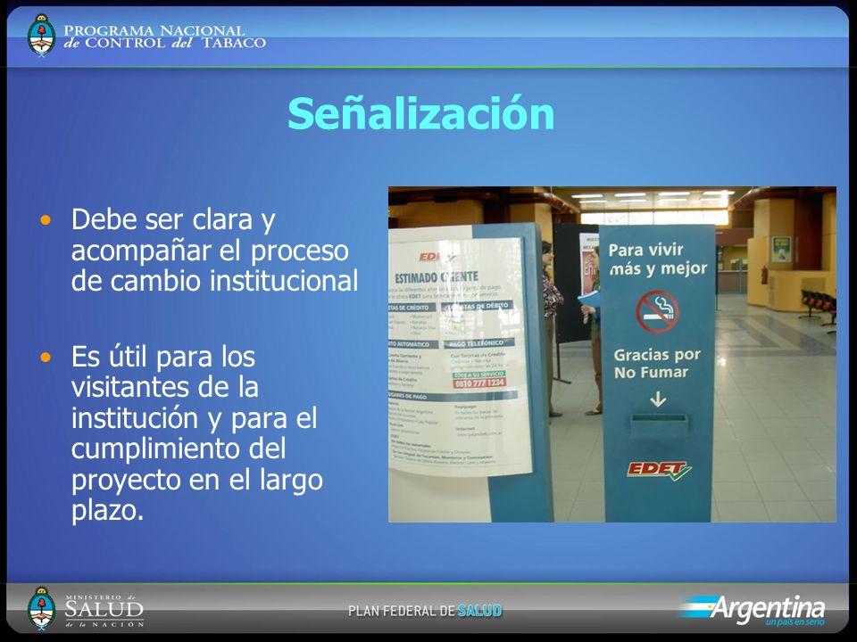 Señalización Debe ser clara y acompañar el proceso de cambio institucional Es útil para los visitantes de la institución y para el cumplimiento del pr