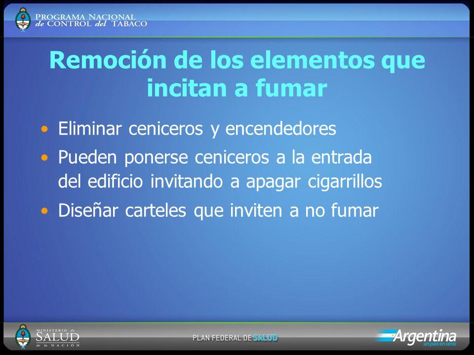 Remoción de los elementos que incitan a fumar Eliminar ceniceros y encendedores Pueden ponerse ceniceros a la entrada del edificio invitando a apagar