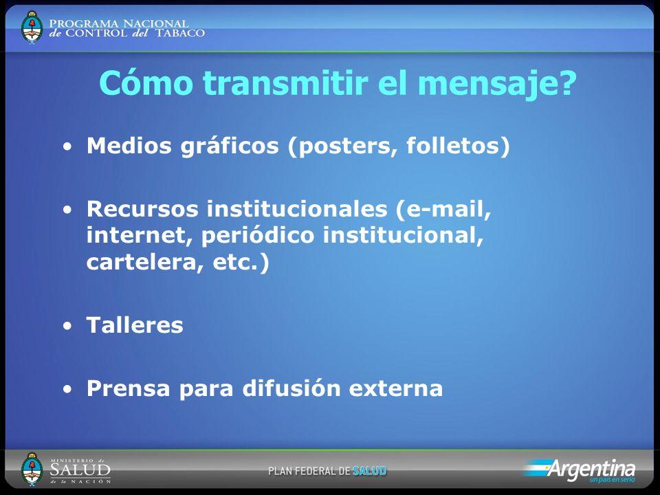 Cómo transmitir el mensaje? Medios gráficos (posters, folletos) Recursos institucionales (e-mail, internet, periódico institucional, cartelera, etc.)