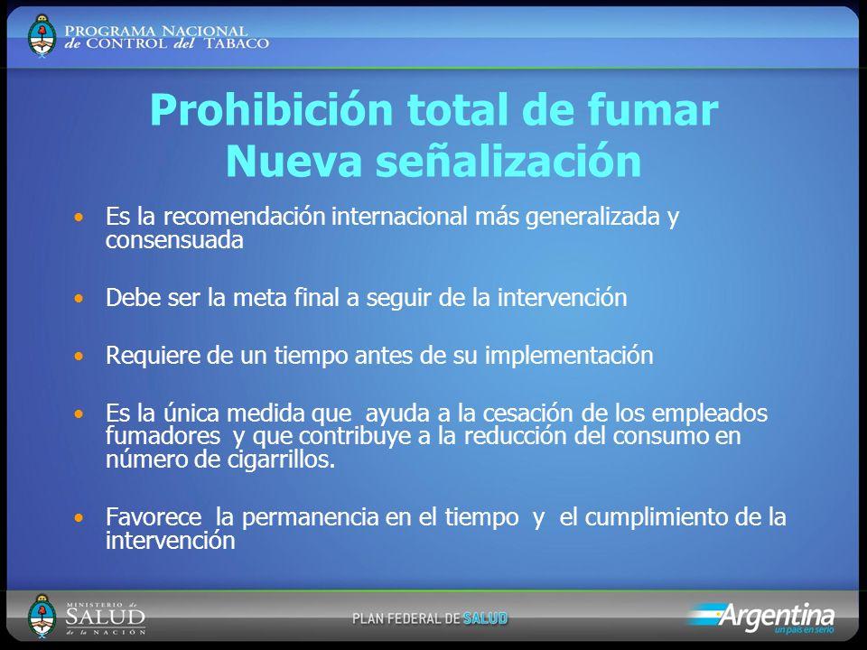 Prohibición total de fumar Nueva señalización Es la recomendación internacional más generalizada y consensuada Debe ser la meta final a seguir de la i