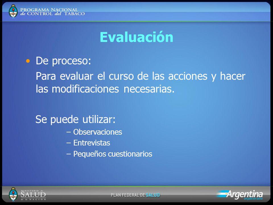 Evaluación De proceso: Para evaluar el curso de las acciones y hacer las modificaciones necesarias. Se puede utilizar: –Observaciones –Entrevistas –Pe