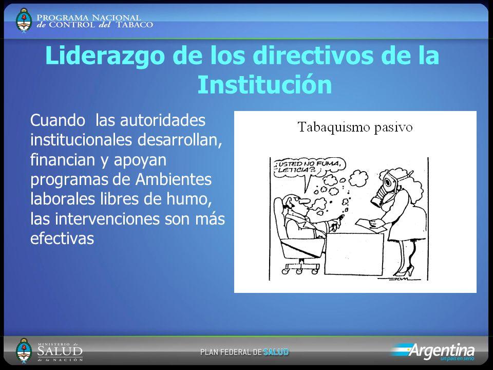 Liderazgo de los directivos de la Institución Cuando las autoridades institucionales desarrollan, financian y apoyan programas de Ambientes laborales