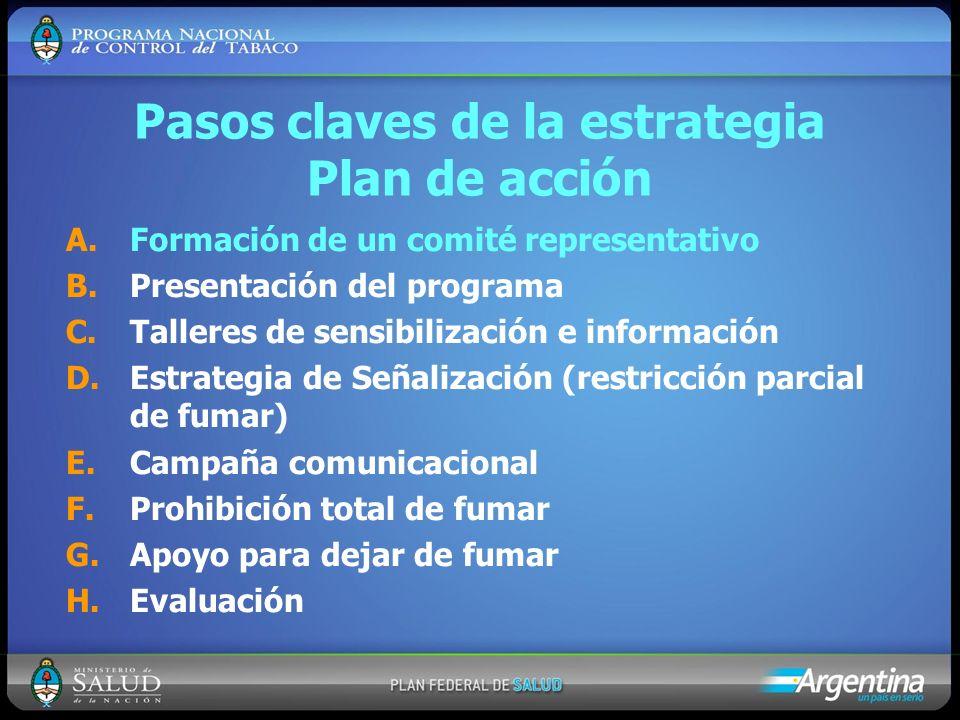 Pasos claves de la estrategia Plan de acción A.Formación de un comité representativo B.Presentación del programa C.Talleres de sensibilización e infor