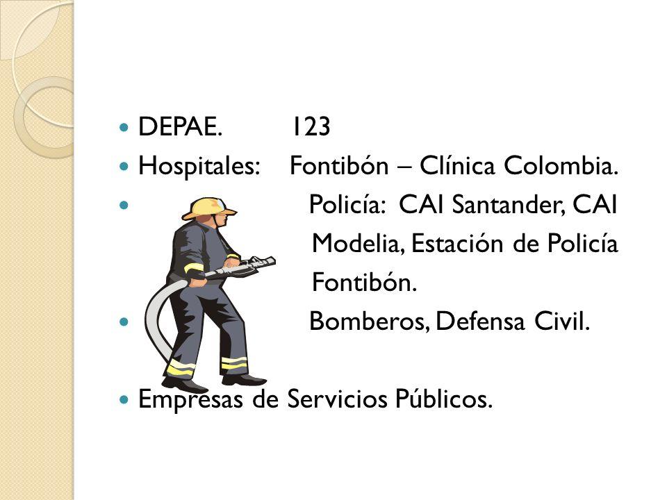 DEPAE. 123 Hospitales: Fontibón – Clínica Colombia. Policía: CAI Santander, CAI Modelia, Estación de Policía Fontibón. Bomberos, Defensa Civil. Empres