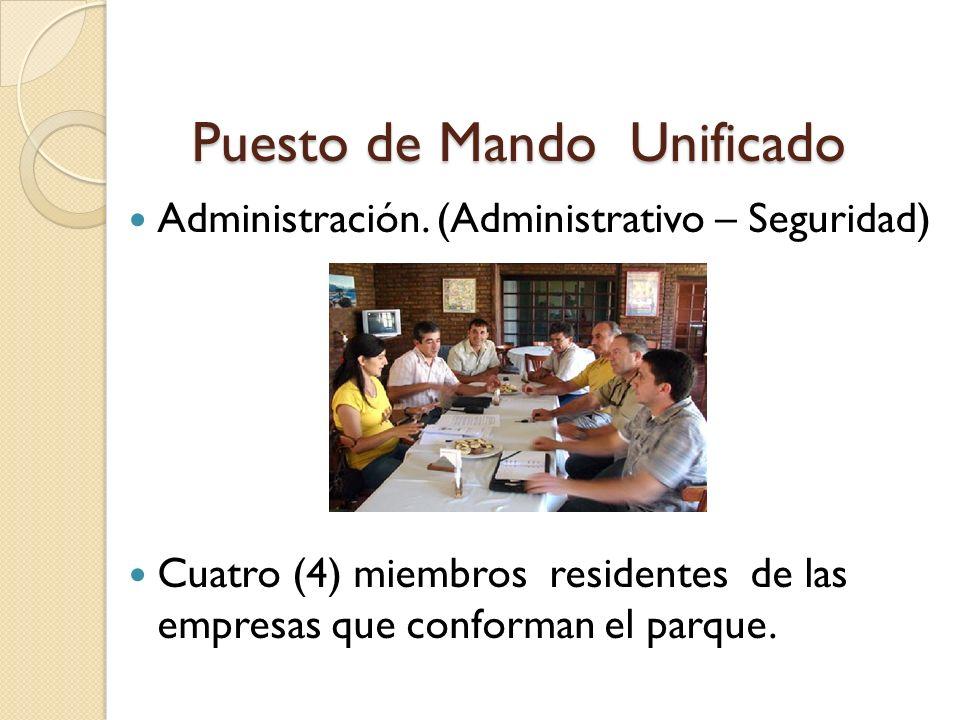 Puesto de Mando Unificado Administración. (Administrativo – Seguridad) Cuatro (4) miembros residentes de las empresas que conforman el parque.