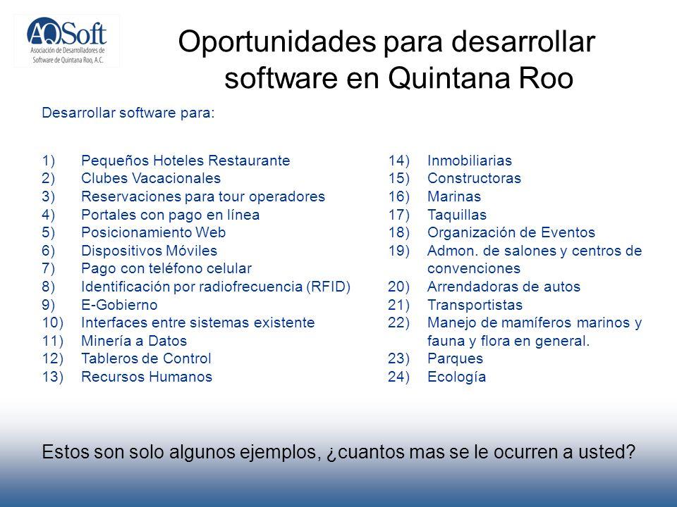 Estos son solo algunos ejemplos, ¿cuantos mas se le ocurren a usted? Oportunidades para desarrollar software en Quintana Roo Desarrollar software para