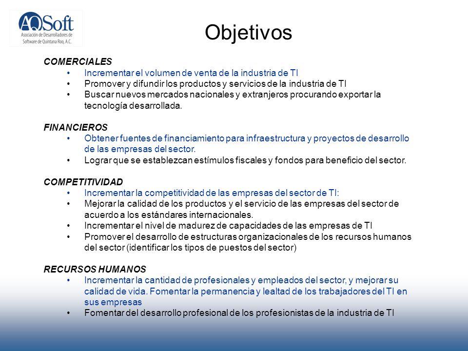 Objetivos COMERCIALES Incrementar el volumen de venta de la industria de TI Promover y difundir los productos y servicios de la industria de TI Buscar