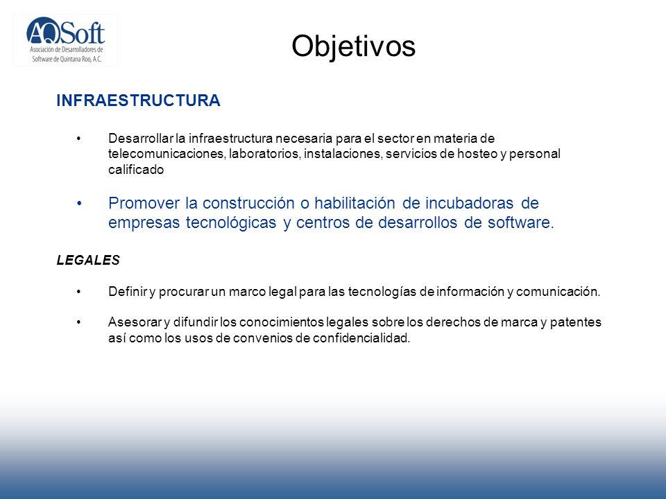Objetivos INFRAESTRUCTURA Desarrollar la infraestructura necesaria para el sector en materia de telecomunicaciones, laboratorios, instalaciones, servi