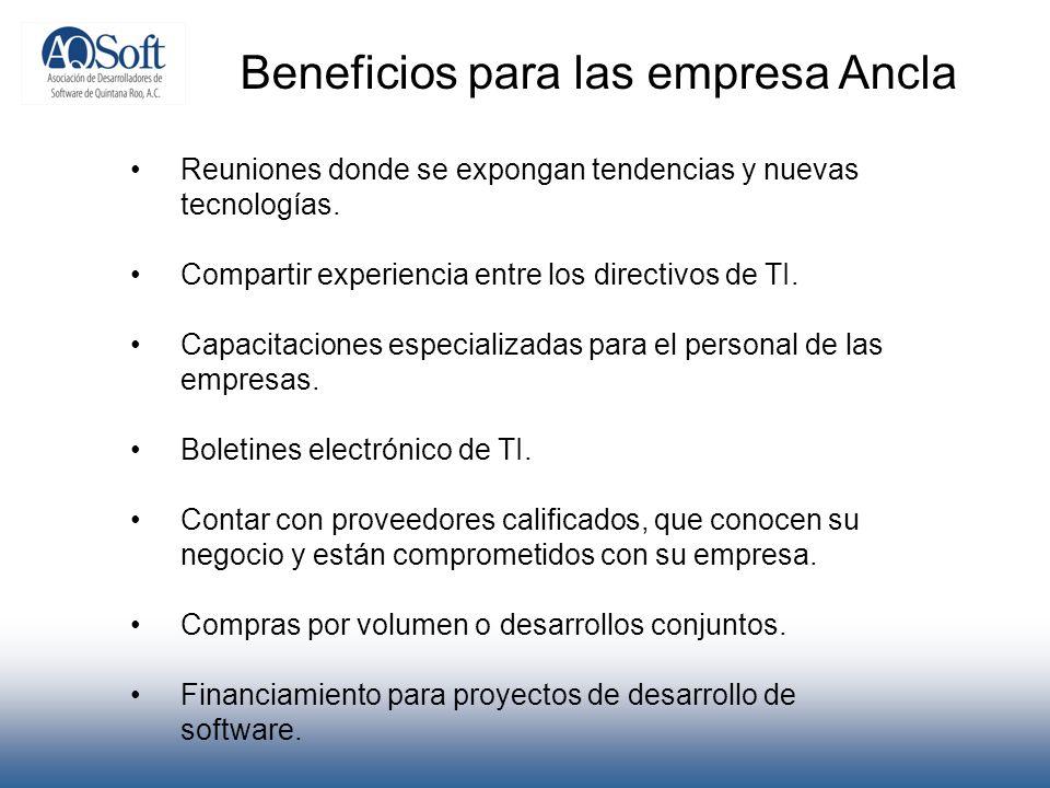 Beneficios para las empresa Ancla Reuniones donde se expongan tendencias y nuevas tecnologías. Compartir experiencia entre los directivos de TI. Capac