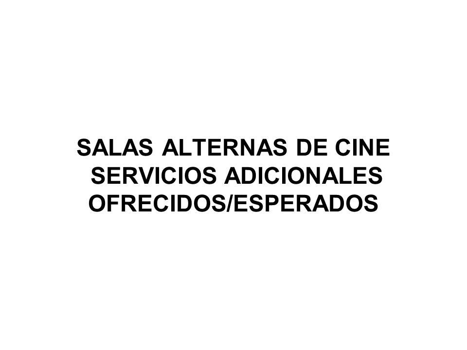 SALAS ALTERNAS DE CINE SERVICIOS ADICIONALES OFRECIDOS/ESPERADOS