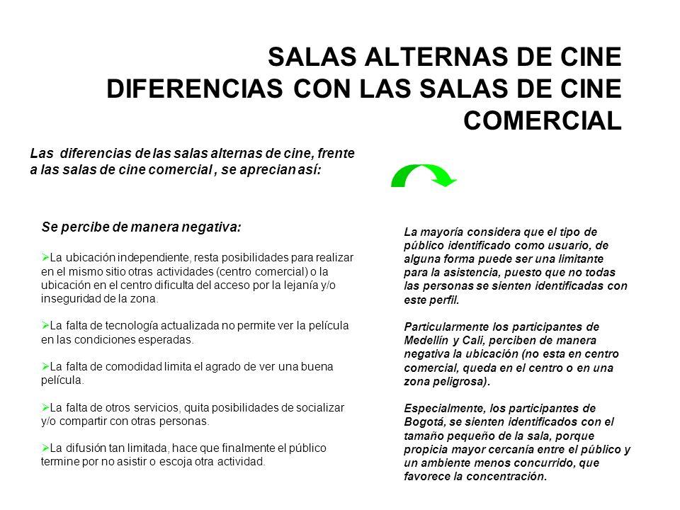 SALAS ALTERNAS DE CINE DIFERENCIAS CON LAS SALAS DE CINE COMERCIAL Se percibe de manera negativa: La ubicación independiente, resta posibilidades para