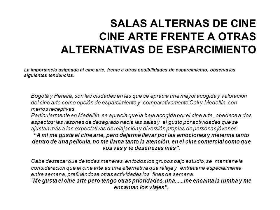 SALAS ALTERNAS DE CINE CINE ARTE FRENTE A OTRAS ALTERNATIVAS DE ESPARCIMIENTO La importancia asignada al cine arte, frente a otras posibilidades de es