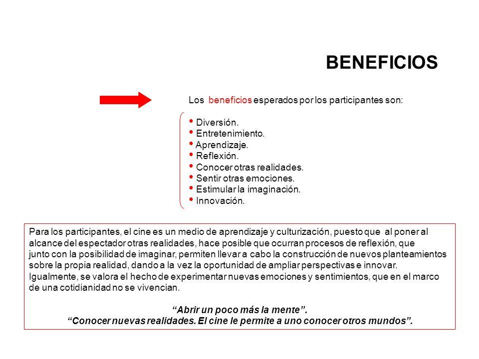 BENEFICIOS Los beneficios esperados por los participantes son: Diversión.