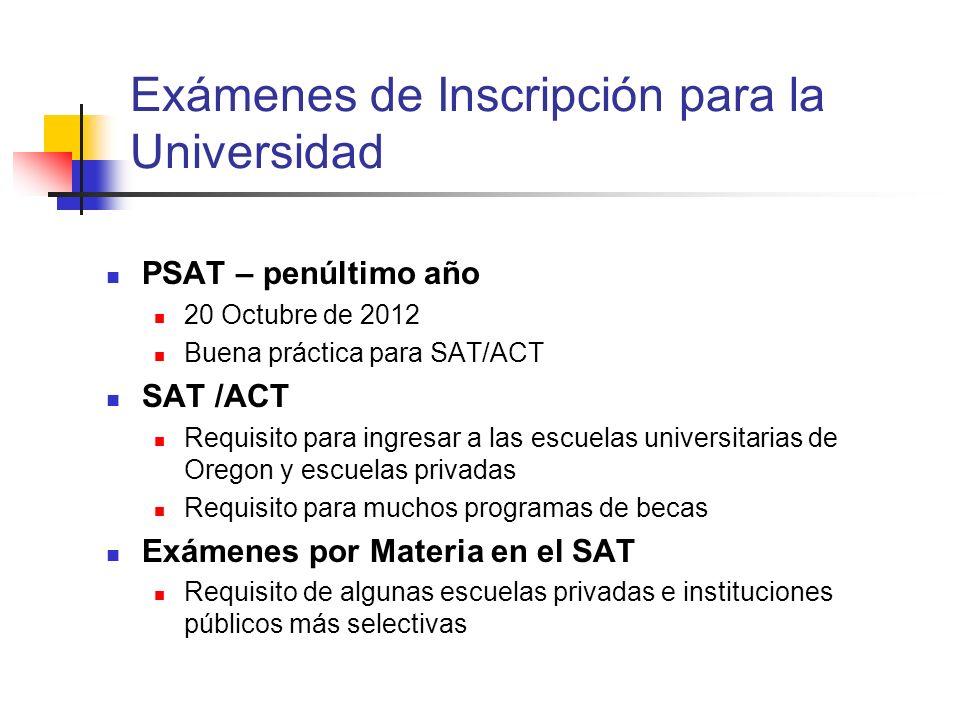Exámenes de Inscripción para la Universidad PSAT – penúltimo año 20 Octubre de 2012 Buena práctica para SAT/ACT SAT /ACT Requisito para ingresar a las