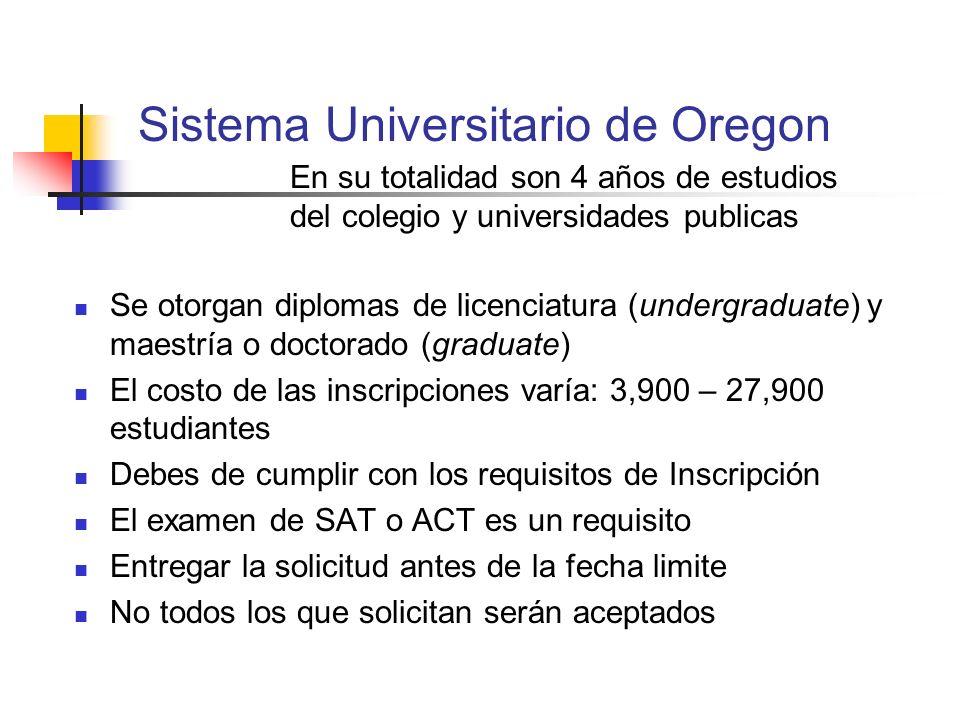 Sistema Universitario de Oregon En su totalidad son 4 años de estudios del colegio y universidades publicas Se otorgan diplomas de licenciatura (under