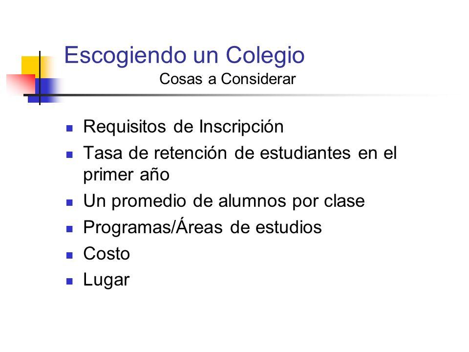Escogiendo un Colegio Cosas a Considerar Requisitos de Inscripción Tasa de retención de estudiantes en el primer año Un promedio de alumnos por clase