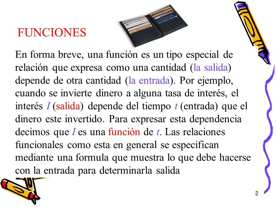 2 En forma breve, una función es un tipo especial de relación que expresa como una cantidad (la salida) depende de otra cantidad (la entrada). Por eje