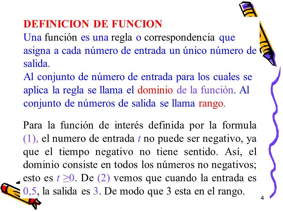 4 DEFINICION DE FUNCION Una función es una regla o correspondencia que asigna a cada número de entrada un único número de salida. Al conjunto de númer