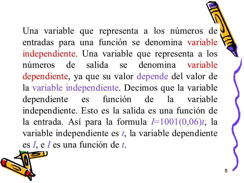 5 Una variable que representa a los números de entradas para una función se denomina variable independiente. Una variable que representa a los números