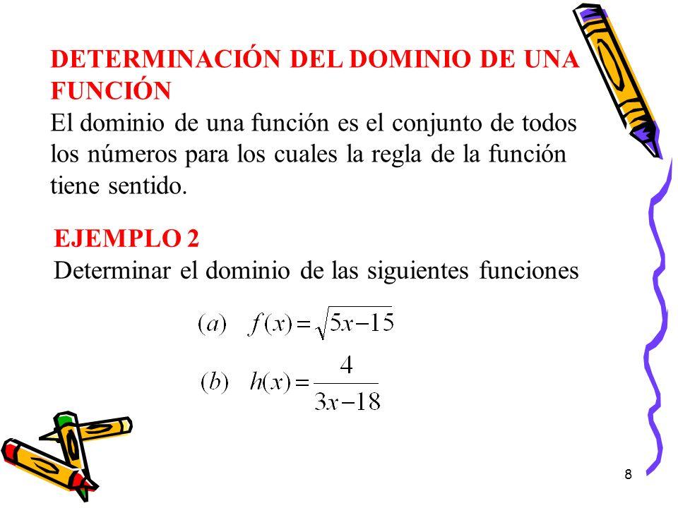 8 DETERMINACIÓN DEL DOMINIO DE UNA FUNCIÓN El dominio de una función es el conjunto de todos los números para los cuales la regla de la función tiene