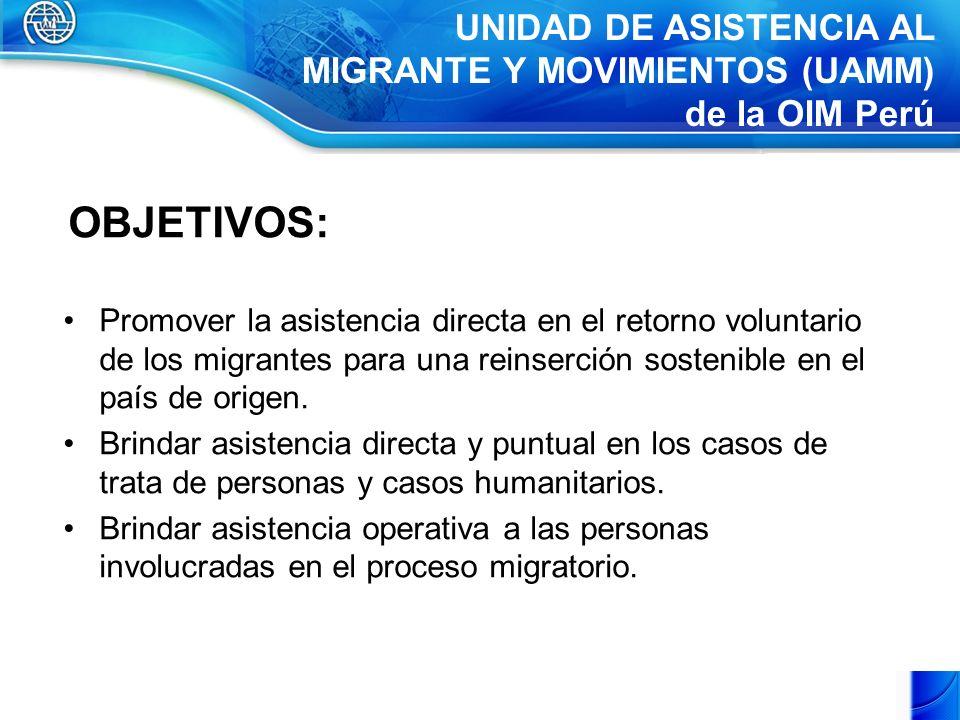 OBJETIVOS: Promover la asistencia directa en el retorno voluntario de los migrantes para una reinserción sostenible en el país de origen.