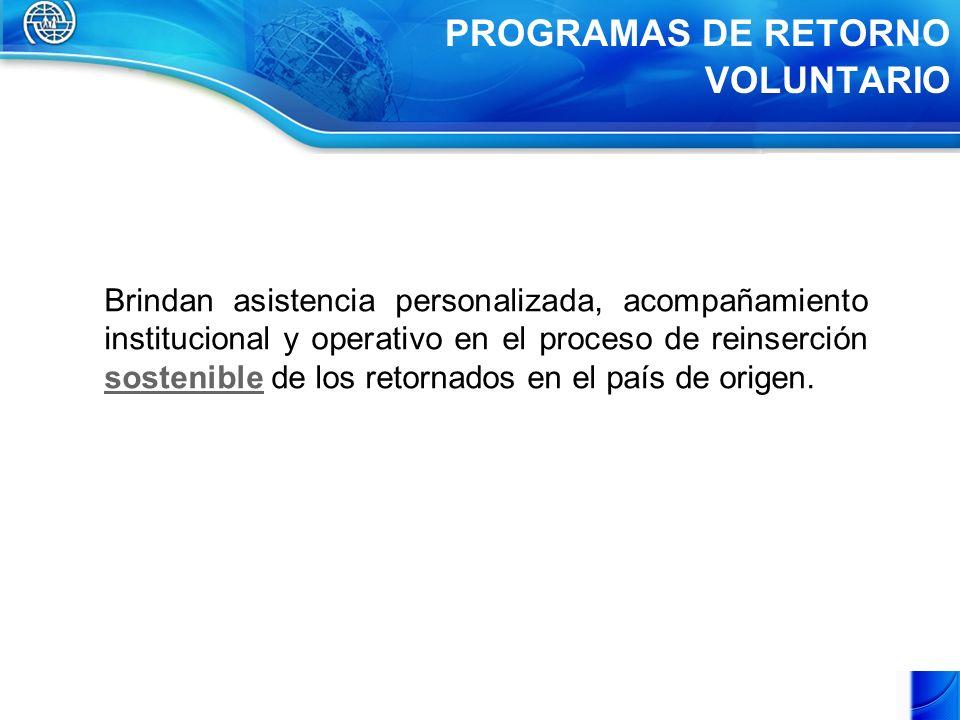 PROGRAMAS DE RETORNO VOLUNTARIO Brindan asistencia personalizada, acompañamiento institucional y operativo en el proceso de reinserción sostenible de los retornados en el país de origen.
