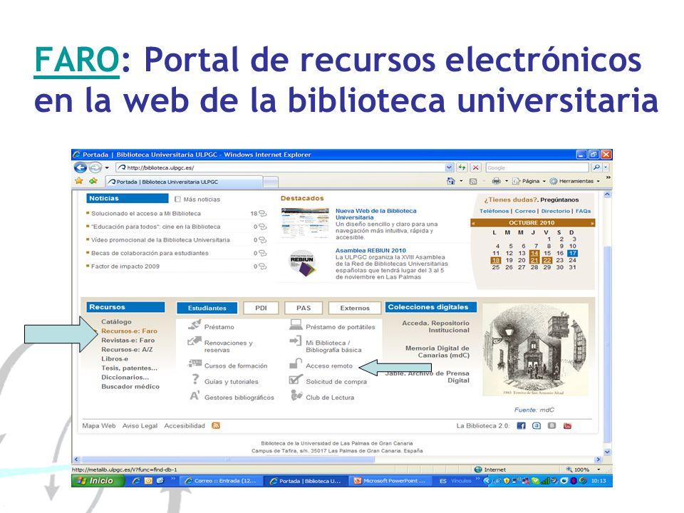 FAROFARO: Portal de recursos electrónicos en la web de la biblioteca universitaria