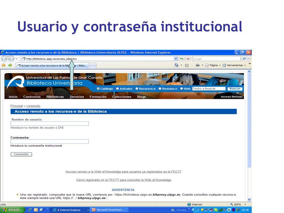 Usuario y contraseña institucional