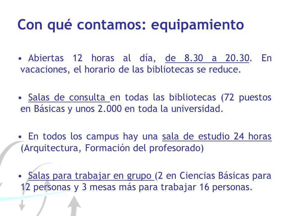 Con qué contamos: equipamiento Abiertas 12 horas al día, de 8.30 a 20.30. En vacaciones, el horario de las bibliotecas se reduce. Salas de consulta en