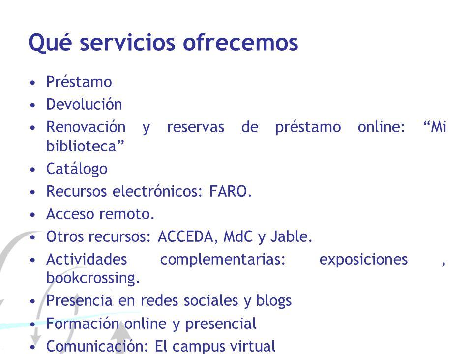 Qué servicios ofrecemos Préstamo Devolución Renovación y reservas de préstamo online: Mi biblioteca Catálogo Recursos electrónicos: FARO. Acceso remot