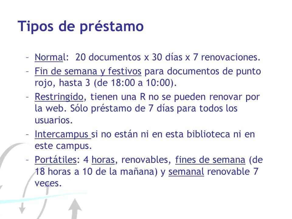 Tipos de préstamo –Normal: 20 documentos x 30 días x 7 renovaciones. –Fin de semana y festivos para documentos de punto rojo, hasta 3 (de 18:00 a 10:0