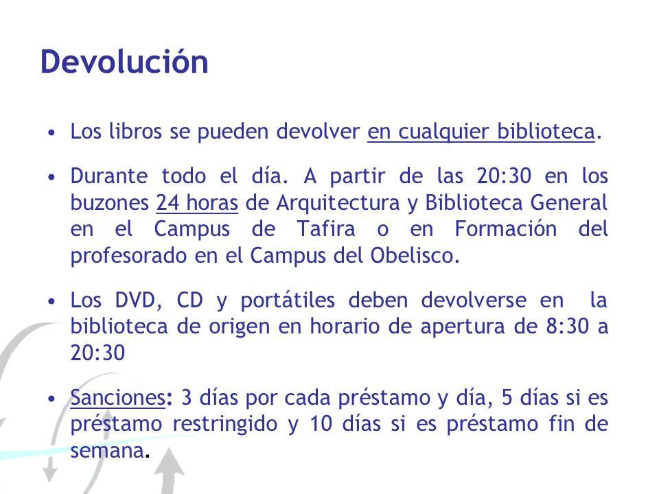 Devolución Los libros se pueden devolver en cualquier biblioteca. Durante todo el día. A partir de las 20:30 en los buzones 24 horas de Arquitectura y