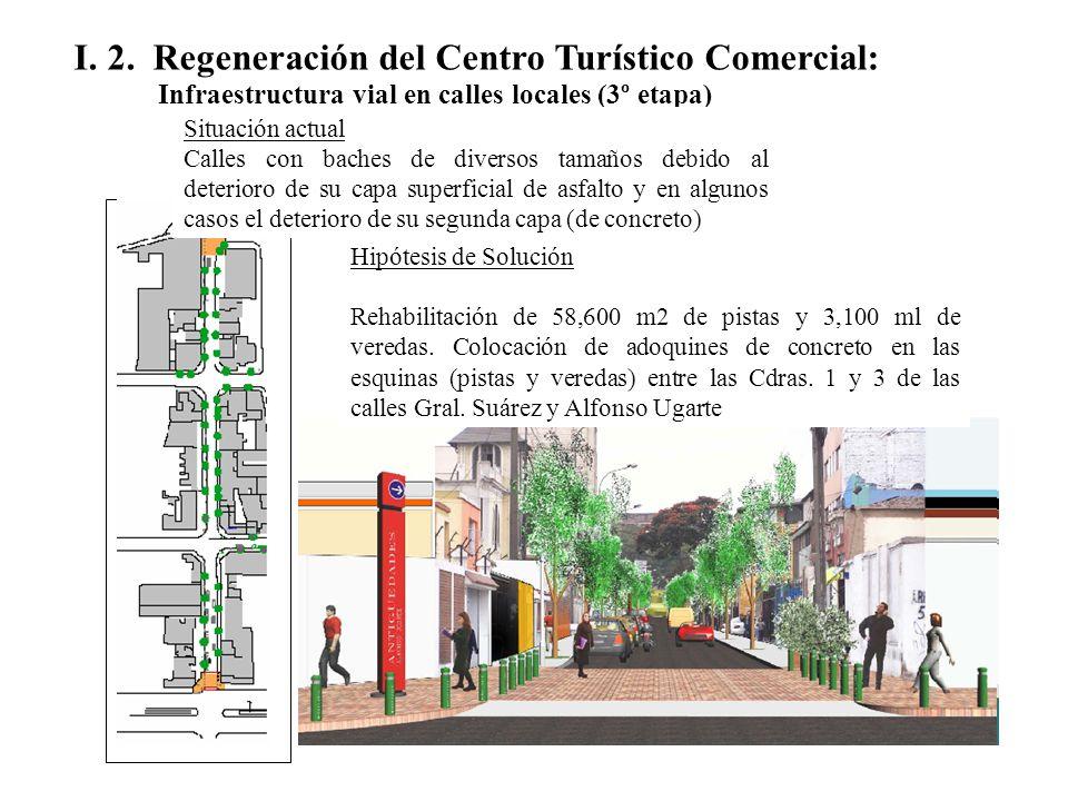 I. 2. Regeneración del Centro Turístico Comercial: Infraestructura vial en calles locales (3º etapa) Situación actual Calles con baches de diversos ta