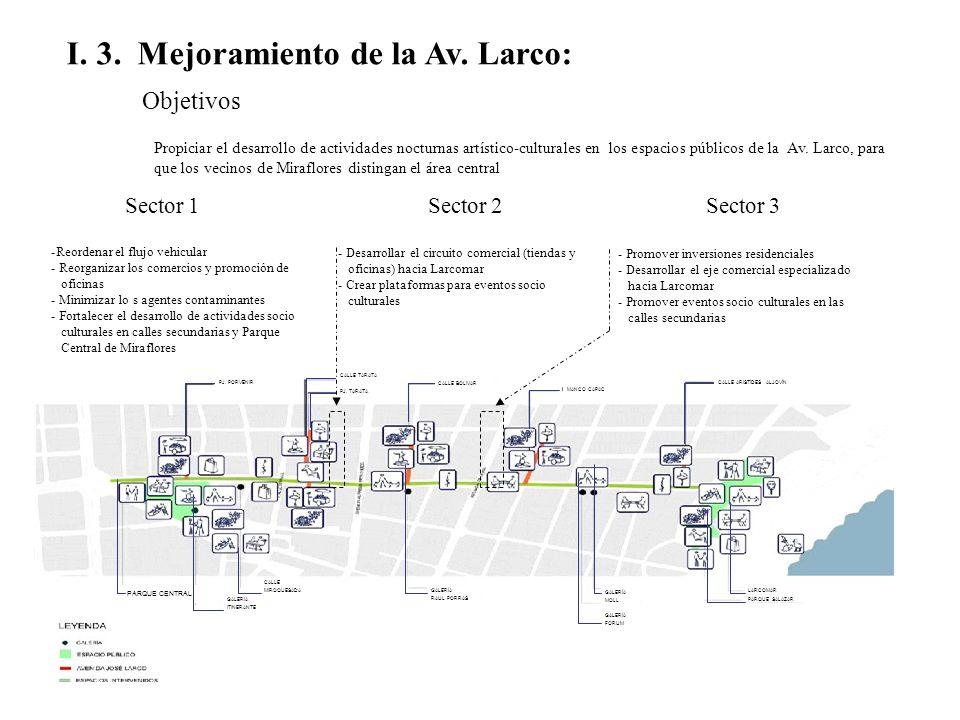 I. 3. Mejoramiento de la Av. Larco: Objetivos Propiciar el desarrollo de actividades nocturnas artístico-culturales en los espacios públicos de la Av.