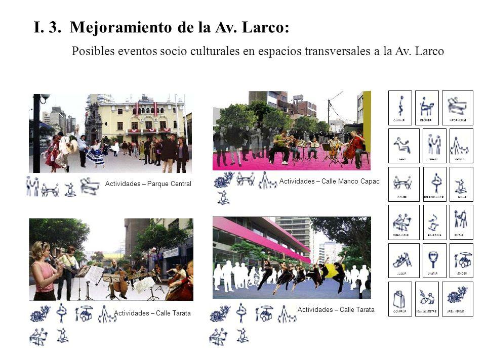 I. 3. Mejoramiento de la Av. Larco: Posibles eventos socio culturales en espacios transversales a la Av. Larco Actividades – Parque Central Actividade