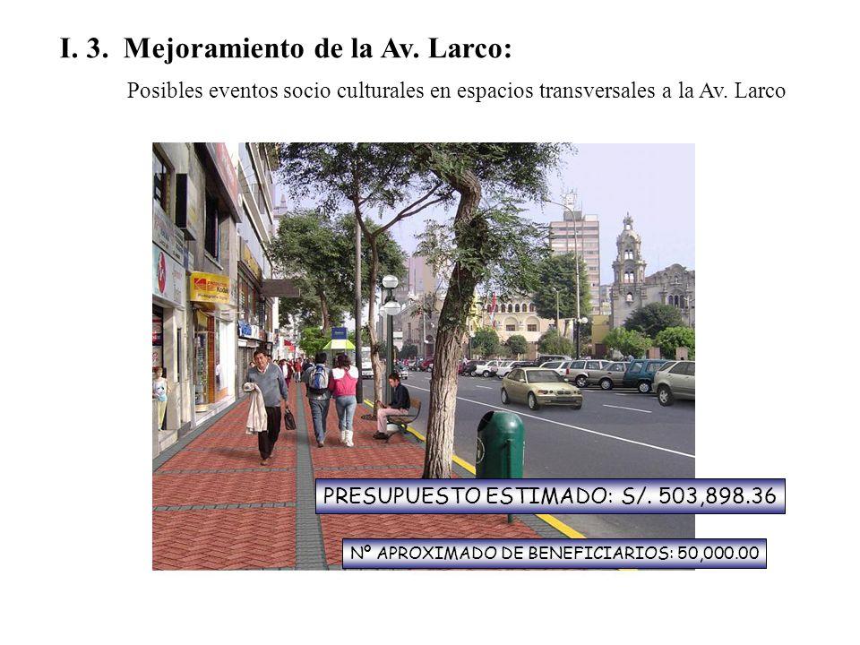 I. 3. Mejoramiento de la Av. Larco: Posibles eventos socio culturales en espacios transversales a la Av. Larco PRESUPUESTO ESTIMADO: S/. 503,898.36 Nº