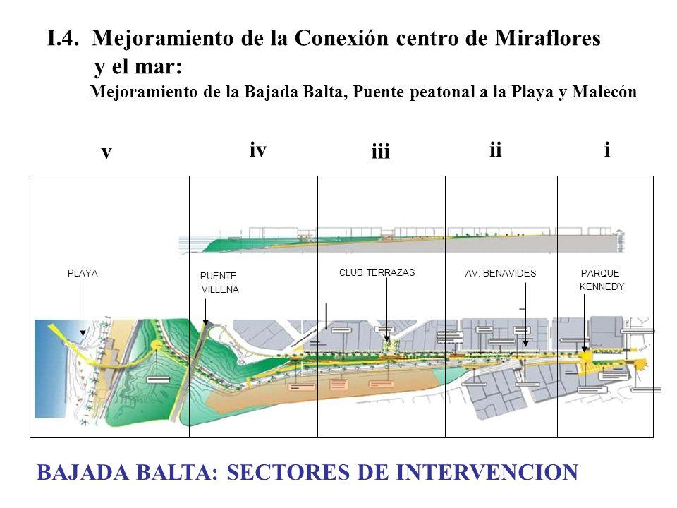 I.4. Mejoramiento de la Conexión centro de Miraflores y el mar: Mejoramiento de la Bajada Balta, Puente peatonal a la Playa y Malecón PLAYA PUENTE VIL