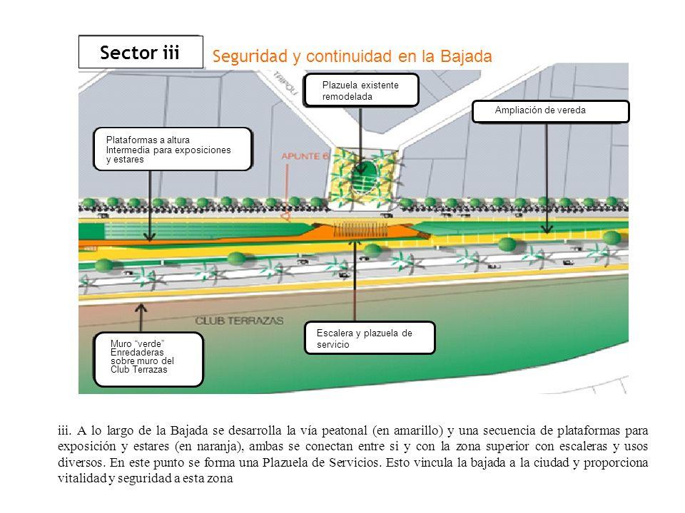 iii. A lo largo de la Bajada se desarrolla la vía peatonal (en amarillo) y una secuencia de plataformas para exposición y estares (en naranja), ambas
