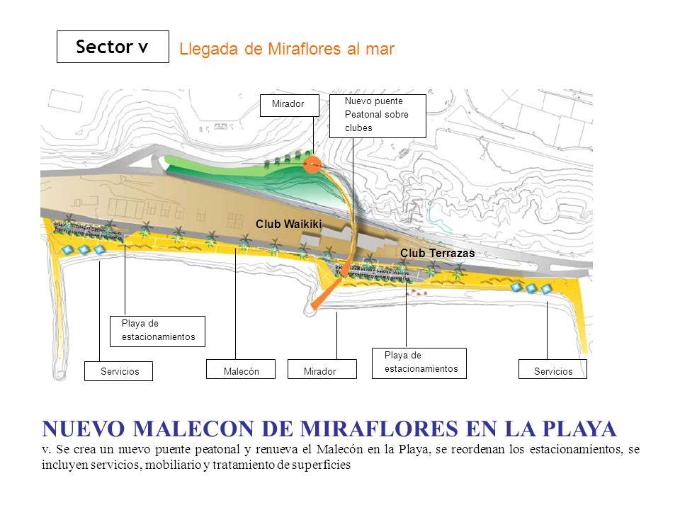 v. Se crea un nuevo puente peatonal y renueva el Malecón en la Playa, se reordenan los estacionamientos, se incluyen servicios, mobiliario y tratamien