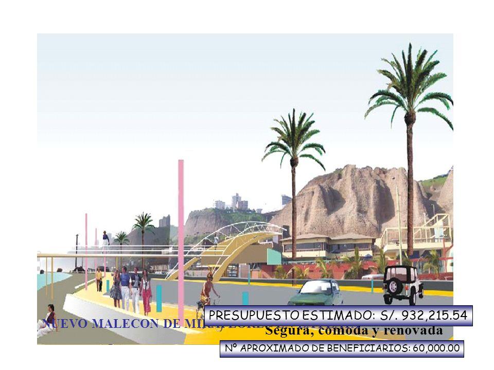 Nueva bajada peatonal al mar Segura, cómoda y renovada NUEVO MALECON DE MIRAFLORES EN LA PLAYA PRESUPUESTO ESTIMADO: S/. 932,215.54 Nº APROXIMADO DE B