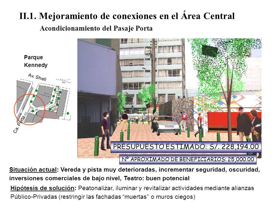 II.1. Mejoramiento de conexiones en el Área Central Acondicionamiento del Pasaje Porta Parque Kennedy Situación actual: Vereda y pista muy deteriorada
