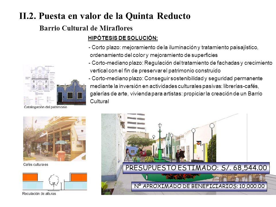 II.2. Puesta en valor de la Quinta Reducto Barrio Cultural de Miraflores - Deterioro físico - La intensa actividad comercial vecinas amenazan la tranq