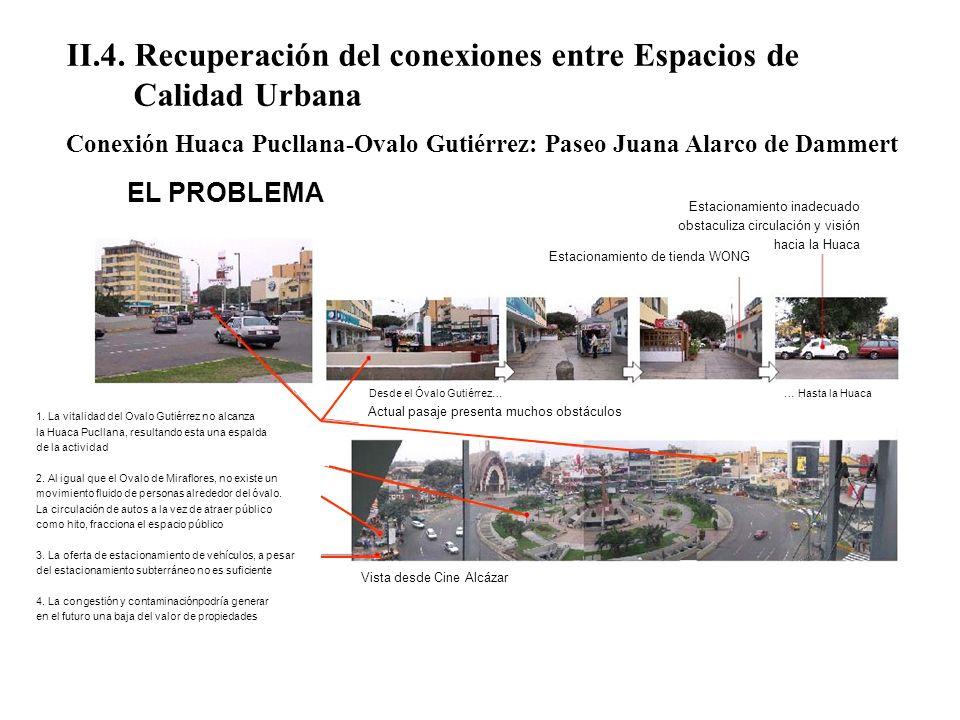 II.4. Recuperación del conexiones entre Espacios de Calidad Urbana Conexión Huaca Pucllana-Ovalo Gutiérrez: Paseo Juana Alarco de Dammert 1. La vitali