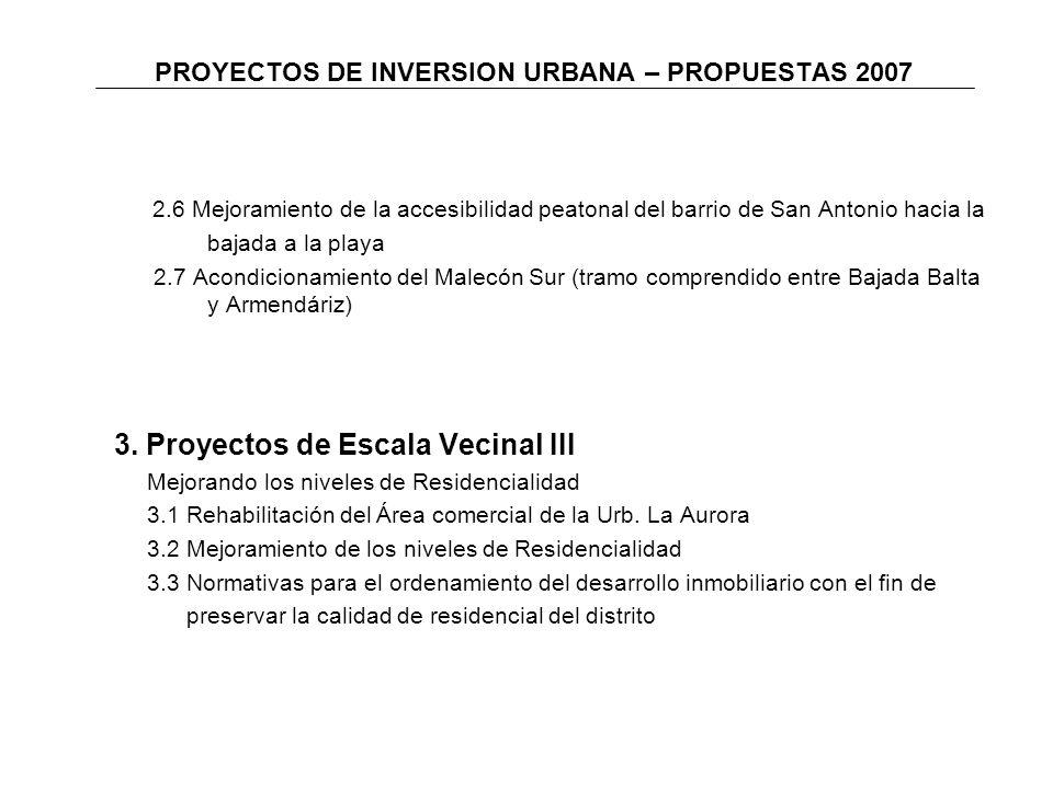 PROYECTOS DE INVERSION URBANA – PROPUESTAS 2007 2.6 Mejoramiento de la accesibilidad peatonal del barrio de San Antonio hacia la bajada a la playa 2.7 Acondicionamiento del Malecón Sur (tramo comprendido entre Bajada Balta y Armendáriz) 3.