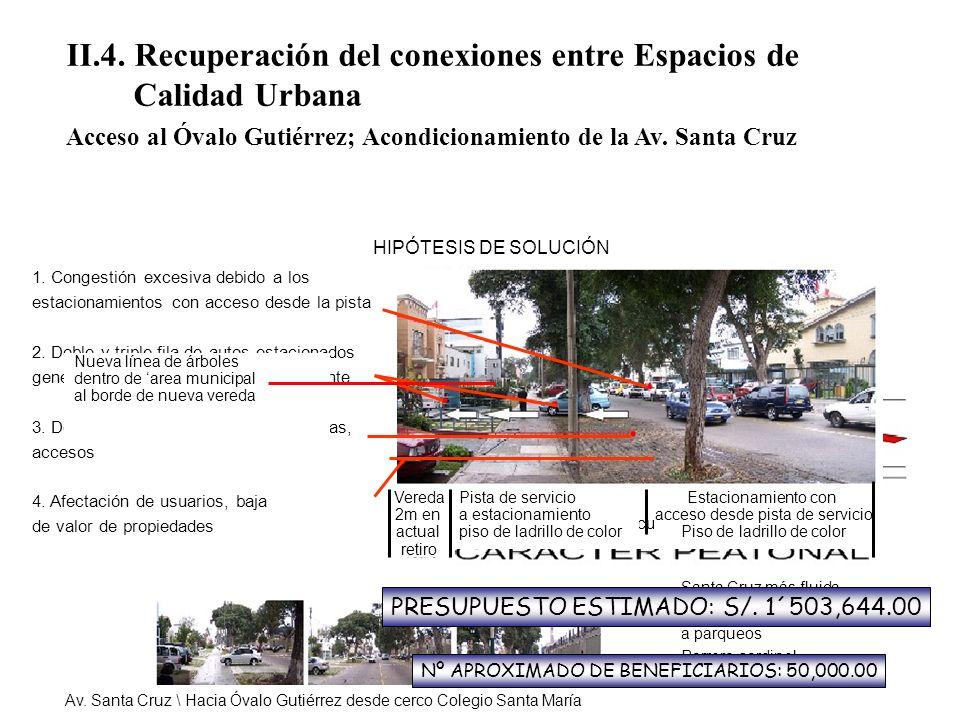 II.4. Recuperación del conexiones entre Espacios de Calidad Urbana Acceso al Óvalo Gutiérrez; Acondicionamiento de la Av. Santa Cruz 1. Congestión exc