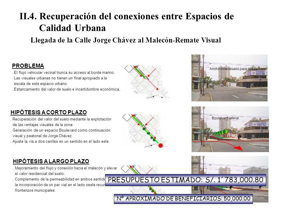 II.4. Recuperación del conexiones entre Espacios de Calidad Urbana Llegada de la Calle Jorge Chávez al Malecón-Remate Visual PROBLEMA. El flujo vehicu
