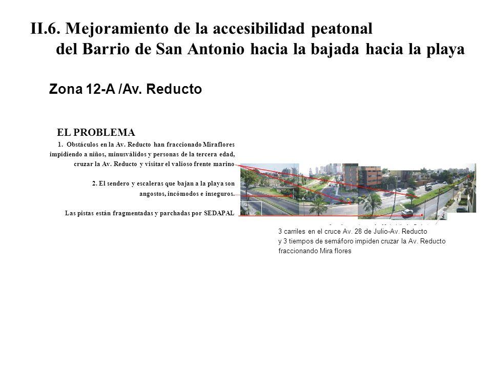 II.6. Mejoramiento de la accesibilidad peatonal del Barrio de San Antonio hacia la bajada hacia la playa EL PROBLEMA 1. Obstáculos en la Av. Reducto h