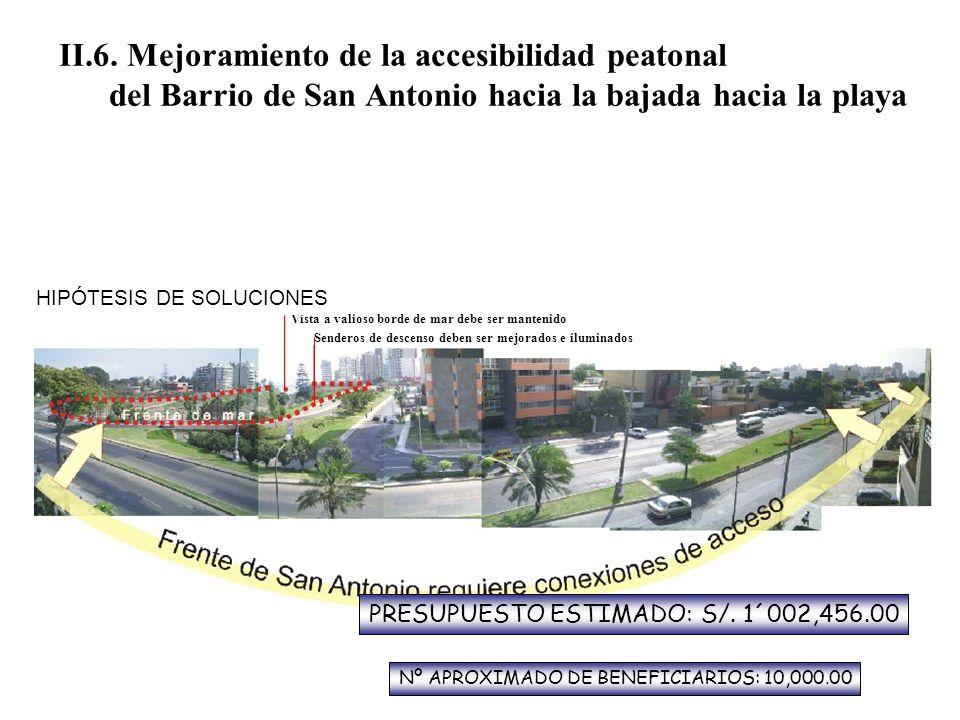 II.6. Mejoramiento de la accesibilidad peatonal del Barrio de San Antonio hacia la bajada hacia la playa Vista a valioso borde de mar debe ser manteni