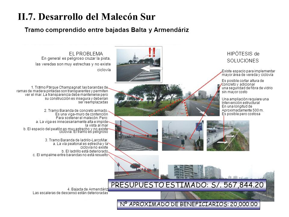 II.7. Desarrollo del Malecón Sur Tramo comprendido entre bajadas Balta y Armendáriz EL PROBLEMA En general es peligroso cruzar la pista, las veredas s