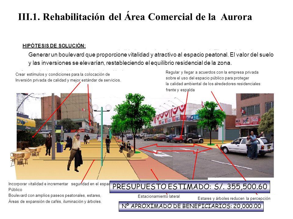 III.1. Rehabilitación del Área Comercial de la Aurora PROBLEMA: El núcleo comercial del área más residencial de Miraflores tiene importantes y amenaza